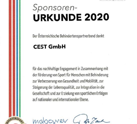 sponsorenurkunde CEST 2020